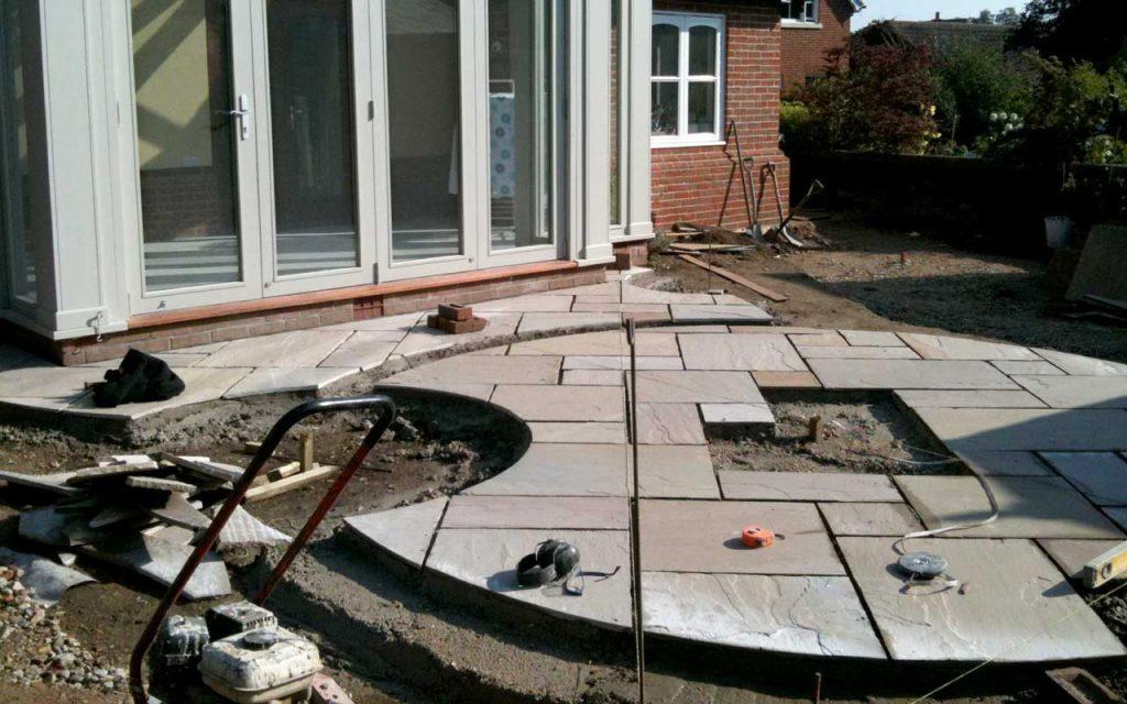 Garden patio being constructed