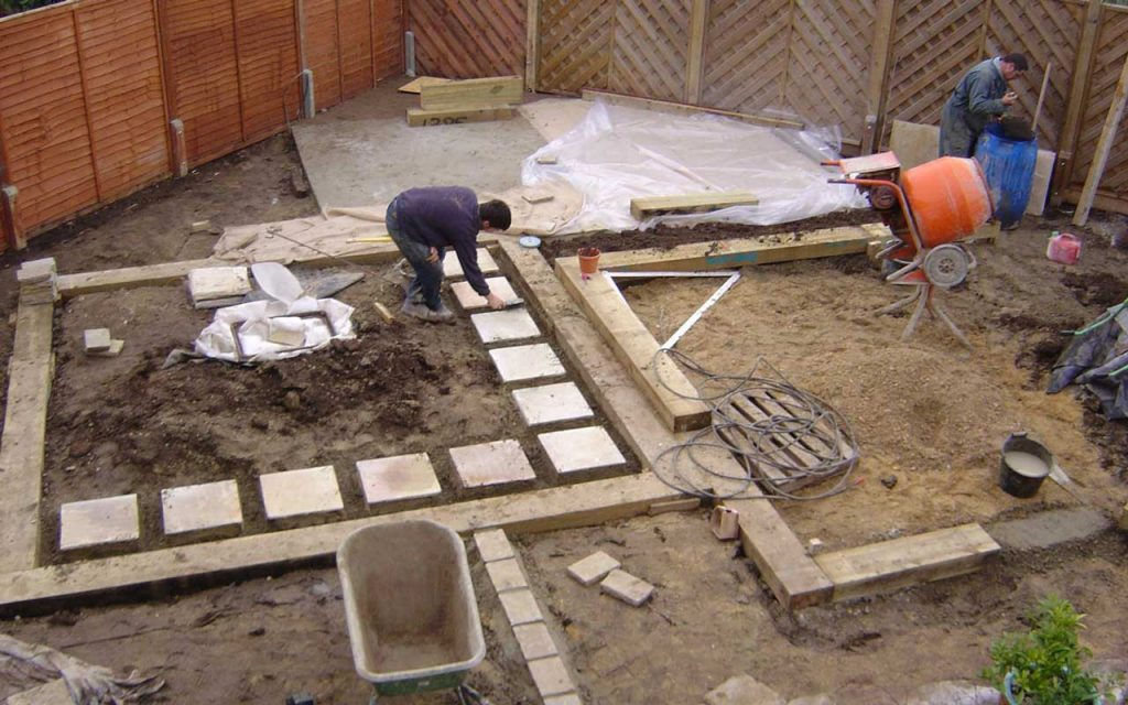 Garden in the process of being built