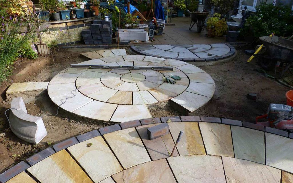 Garden patio in the process of being built