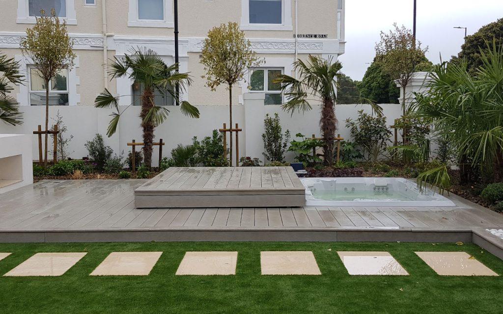 Modern garden with sunken hot tub