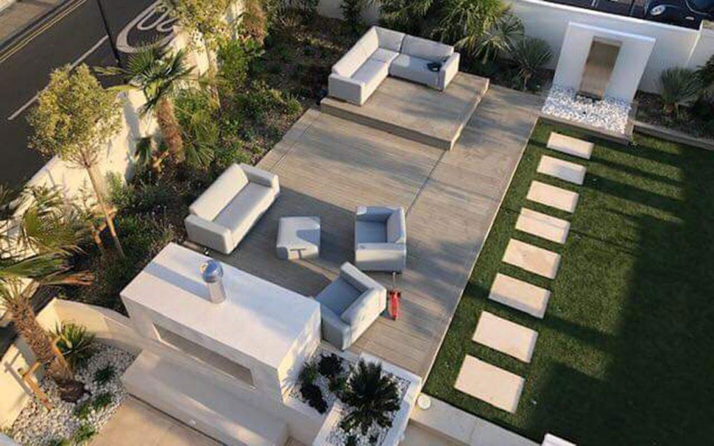 Overhead view of a modern garden
