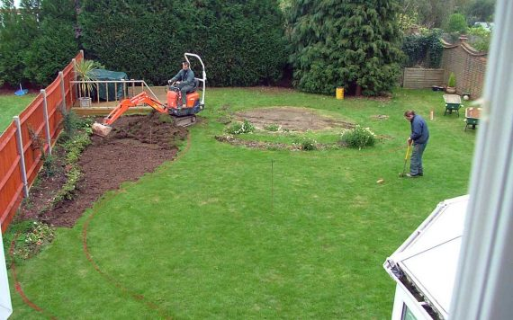 First preparation of landscaping a garden